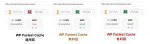 WP Fastest Cache パソコン表示速度効果